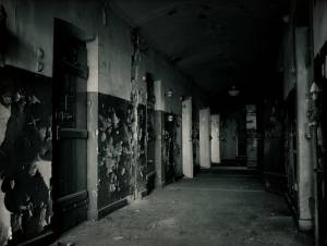 Photograph of a crumbling prison