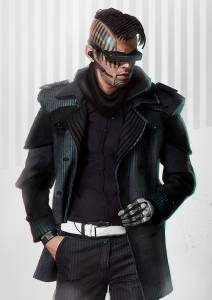 A man in a leather coat with intrusive augmentations