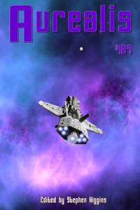 Aurealis #107 cover Spaceship in purple sky Ed by Stephen Higgins